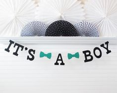 It's a Boy Banner  5 Inch Letters with Bow by FreshLemonBlossoms