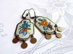 gitan  vintage tin and brass earrings by littleblackrabbit on Etsy, $45.00