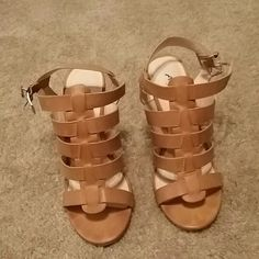 Beautiful strappy heels Tan/creme strappy fun heels...worn once like new!!! Anne Michelle Shoes Heels