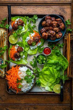 Hoisin meatball lettuce wraps dennis the prescott recipe link, fish recipes, Asian Recipes, Healthy Recipes, Ethnic Recipes, Fish Recipes, Cooking Jasmine Rice, Snacks Für Party, Hoisin Sauce, Food Platters, Lettuce Wraps