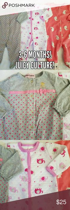 Super cute 3-6 month footie PJ bundle!! Three very cute pairs of footie PJ's all in size 3-6 months! All three are in excellent condition with no stains or flaws! The first grey & pink pair is made by Juicy Couture! It has gold snaps and Juicy logo! It has a pink ribbon and polka dots! The second one is made by Kidgets and is white with a cross stitch pattern! It displays pink elephants, flowers, and hearts throughout! The third pair is a red/orange fleece pair made by Carter's! It has…