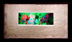 """Flower Study no. 3, 1988, 37"""" x 18"""" in coco bolo frame with japanese linen"""
