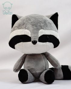Cute Bellzi Black and Gray w/ White Contrast Raccoon Plushie Doll 11 inch - Cooni on Etsy, $50.00