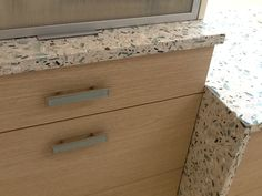 Vetrazzo Emerald Coast installed in an office at EPOCH SOLUTIONS in Bradenton Fl. Vetrazzo is a recycled glass countertop made of 85% glass (500lbs) per slab with a cement binder. View this & other colors at www.umistone.com   This material is sold in FULL* HALF * & QUARTER Sized pieces. Visit one of our showrooms in NAPLES * TAMPA * & BOYNTON BEACH FL.