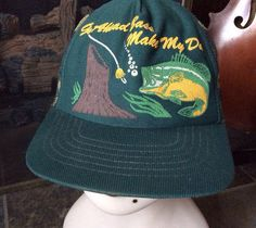 Vintage Antique Estate Go Ahead Bass Make My Day Green Camouflage Hunting Fishing Mesh Trucker Hat Baseball Hat Old School Retro