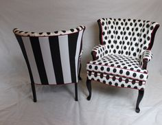 SOLD-Pair of black and white stripe and dot channel back chairs with red cording. The foam has been replaced and the legs have been painted a high