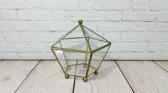 Vintage Brass Vitrine Glass Hexagon Display Case Jewelry Box