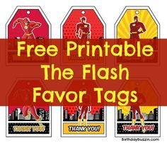 Use these free printable The Flash favor tags to compliment fun favors you've planned for guests. The free templates include a vibrant design featuring The Flash and many comic elements. Flash Birthday Cake, Party Favors For Kids Birthday, Birthday Tags, Boy Birthday Parties, 5th Birthday, Birthday Ideas, Superhero Party, Superhero Birthday Invitations, Party Printables