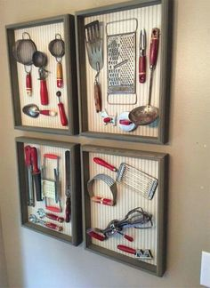 VINTAGE KITCHEN UTENSILS DISPLAYED IN A SHADOW BOX. Such a neat idea! absolutely love this!