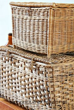 Vintage French Lidded Basket Love Cane Baskets, Old Baskets, Laundry Baskets, Rattan Basket, Wicker, French Baskets, Savvy Southern Style, Antique Market, French Country Style