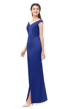 f309a8634dd2 ColsBM Maryam Electric Blue Bridesmaid Dresses Mature Sheath Off The  Shoulder Floor Length Half Backless Split