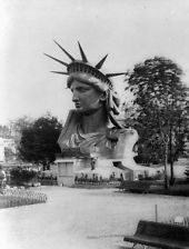 head of Statue of Liberty still in paris 1883