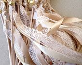 50 Wedding Wands Lace Ribbon Bells Streamers Birthday Party Gold Silver
