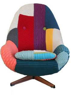 1960s' Greaves and Thomas chair covered in hand knits