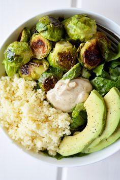 Prefer Quinoa over Couscous. Packed with dark leafy greens, crispy roasted brussels sprouts, fluffy couscous, creamy avocado and a super simple vinaigrette -- this Roasted Brussels Sprout & Couscous Salad is nutrient-dense, filling and delicious. Whole Food Recipes, Cooking Recipes, Dinner Recipes, Super Food Recipes, Chicken Recipes, Super Foods, Family Recipes, Grilling Recipes, Crockpot Recipes