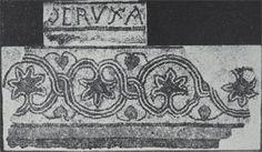 """Antiguo mosaico de la iglesia, relacionado con la Vera Cruz (""""O CRUZ A""""). Fotografia de F. Eygun publicada en Les Fouilles de l'église Ste-Croix à Poitiers.- 8) LE COLLEGE STE-RADEGONDE: Au S de l'église se trouvait le cloître, en contrebas, ainsi que le logis du prieur. Le cloître était affecté au prieur, sauf pour les processions et les distributions d'aumônes en carême. En 1521 le prieur concède la salle des maisons priorales pour le banquet des meuniers et des meuniers et des fourniers…"""