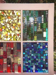 Painted Glass Art Old Windows Mosaic Diy, Mosaic Crafts, Mosaic Projects, Stained Glass Projects, Stained Glass Art, Stained Glass Windows, Mosaic Glass, Mosaic Garden, Mosaic Ideas