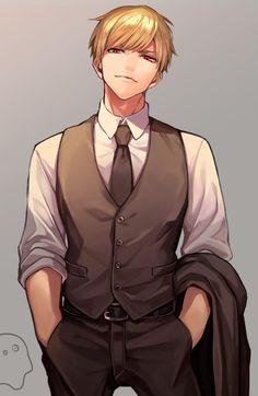Red Hair Anime Guy, Hot Anime Boy, Cute Anime Guys, Guy Hair, Blonde Anime Boy, Blonde Guys, Anime Suit, Character Inspiration, Character Art
