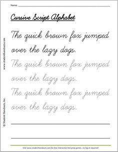 The quick brown fox jumped over the lazy dogs cursivescript handwriting practice worksheet for kids. The quick brown fox jumped over the lazy dogs cursivescript handwriting practice worksheet for kids. Teaching Cursive, Handwriting Practice Worksheets, Cursive Writing Worksheets, Improve Your Handwriting, Handwriting Analysis, Improve Handwriting, Nice Handwriting, Calligraphy Handwriting, Practice Cursive