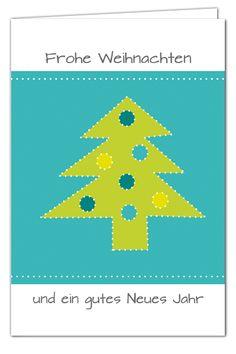 Weihnachtskarte Tannenbaum zum Prickeln - Türkis/Grün - mit Umschlag in Grün
