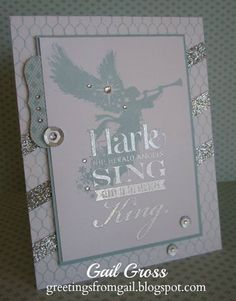 Close To My Heart Hostess Reward Stamp--Sing Glory, Silver Shimmer tape, Silver Assortment Sequins, Bitty Sparkes, Stamp for background is Distressed Backgrounds, Silver Embossing powder.