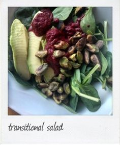 Is it winter? Or is it Spring? Spinach salad with toasted pistachios and beet dressing