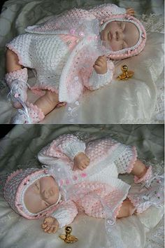 Tender Touch baby or reborn doll outfit to knit. Downloadable pattern.