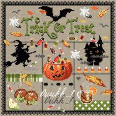 """Madame la fée - points de croix - """"Trick or Treat"""" halloween"""