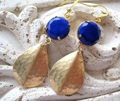 Gold and Navy Earrings Navy Blue Earrings Gold by MySweetNomsa, $26.00