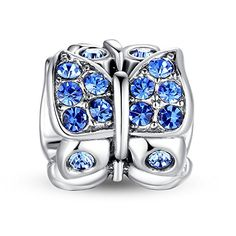 """Blue Crystal Butterfly Swarovski Charm❤Use Coupon code """" PIN5 """" ,Get 5% OFF on all products on www.glamulet.com"""