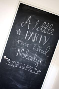 homevialaura #chalkboard #door #party