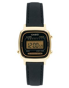 Casio Black Leather Strap Digital Watch to spare your phone's battery.