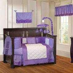 #stylish The #BabyFad Minky Purple 10 piece crib bedding set features a beautiful mixture of purple minky dot chenille fabric along with white and purple 100% na...