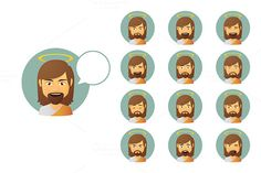 Jesus Christ Avatar Expressions Set by Blablo on Creative Market