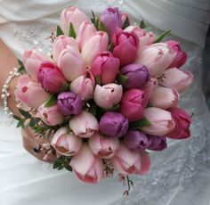 spring bridal bouquets | Pink and Purple Tulip Bouquet