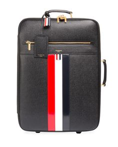 30d794d7743 THOM BROWNE   Leather Trolley Suitcase with Tricolor Stripes, Black Vintage  Luggage, Thom Browne