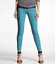STELLA COLORED JEAN LEGGING - TURQUOISE at Express