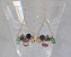 Fluorite Apatite Citrine Iolite Pearl Drop Earrings, Sterling Silver Wire Wrap Woven,  Handmade Gemstone Bead Jewelry, Multi Gem Blue Purple by AdornmentsAndFrills on Etsy