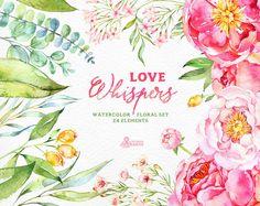 Liebe flüstert: 24 Aquarell Floral Elements Pfingstrosen
