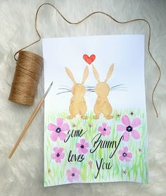 Bunny love ist mit Aquarellfarben gemalt #Aquarell #bunny #hase #ostern Bunny Love, Reusable Tote Bags, Love You, Instagram, Videos, Pictures, Hare, Easter, Creative