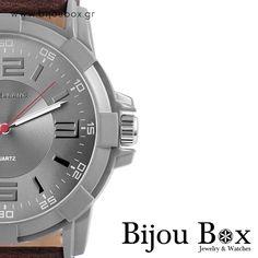 Men's wrist watch silver colored with brown leather strap   Ανδρικό ρολόι χειρός σε ασημί χρώμα με καφέ δερμάτινο λουράκι DEIK Check out now... www.bijoubox.gr #BijouBox #Watch #Ρολόι #Greece #Ελλάδα #Greek #Κοσμήματα #Chrono #Timepiece #BIG #jwlr #Jewelry #Fashion