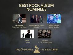 Congrats #GRAMMYs Best Rock Album nominees! James Bay, Death Cab for Cutie, Highly Suspect, Muse, Slipknot
