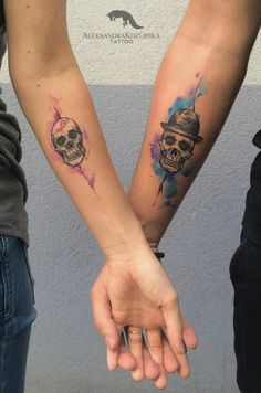 #Watercolor #tattoo #arm #skull #couples #ink #odswitudozmierzchu