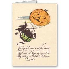 Witch Air Balloon Jack O Lantern Pumpkin Cards