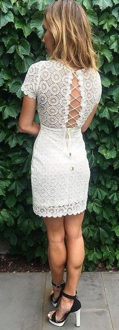 #summer #lovely #style | Lace Up White Lace Dress