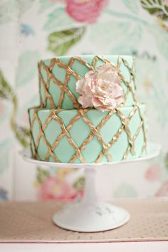 Mint, gold and pink cake
