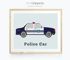 Police Car wall art Toddler Boy Room Decor, Baby Playroom, Playroom Art, Nursery Decor Boy, Boys Bedroom Decor, Modern Playroom, Playroom Ideas, Police Cars, Police Truck