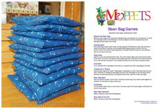 A List of Bean Bag Games for MOPPETS! Plus, instructions for making these cute little bean bags to go with it. Along with a bucket and some masking tape, these are great fun for our MOPPETS.