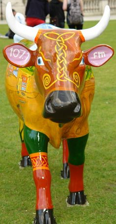 """Belfast, Northern Ireland - Cows on Parade 2012 - """"It's a Cowmoonity Thing"""" - 200 life size fiberglass cow statues"""