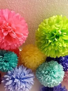 10 Tissue paper pom poms, Wedding decorations, Bridal shower, Rehearsal, Party…